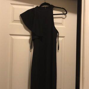 Black one shoulder halter dress